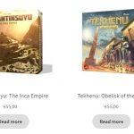 Livraison mondiale offerte chez Board & Dice pour les précommandes en anglais (55€ chacun): Tekhenu et Tawantinsuyu (17.06.2020))