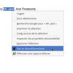 Une extension au navigateur Firefox permet de sélectionner le nom d'un jeu sur un page web et avec le clique-droit obtenir les informations que détient BGG sur ce jeu